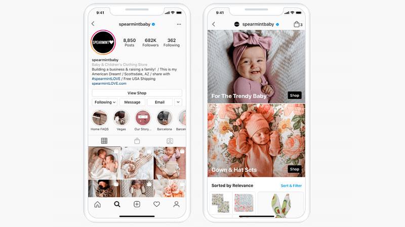 coleção de produtos para bebês na loja no Instagram