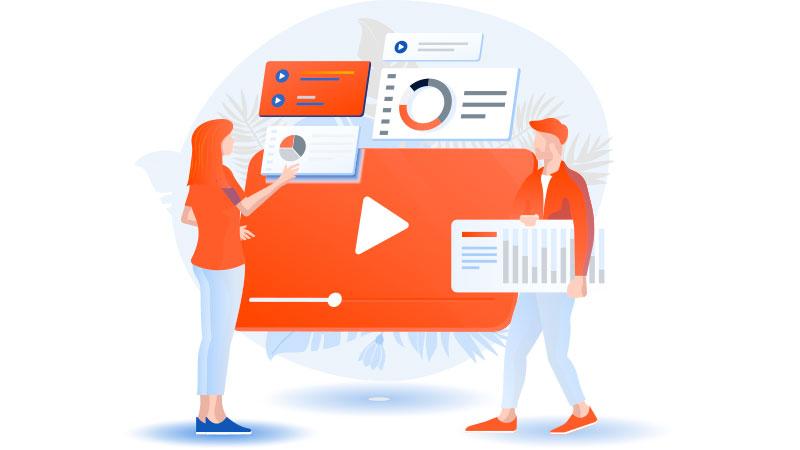 ilustração de uma mulher analisando os dados do seu canal enquanto um homem traz mais informações
