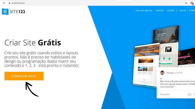 Criar um site no Site123