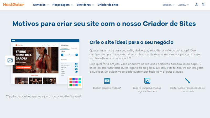 Captura de tela da página do criador de sites da Hostgator