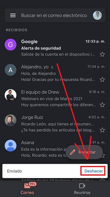 Deshacer un envío con Gmail