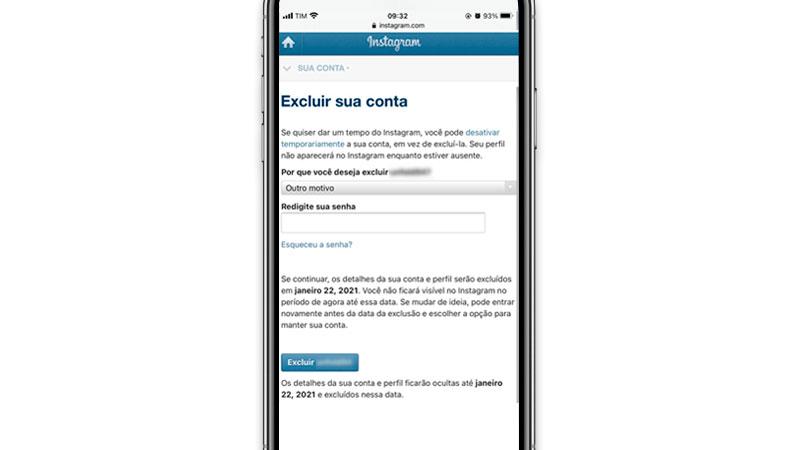 Página para excluir Instagram permanentemente aberta em um celular