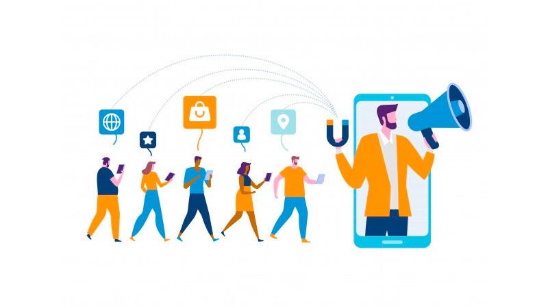 influenciador dentro de um smartphone com uma fila de seguidores atrás dele