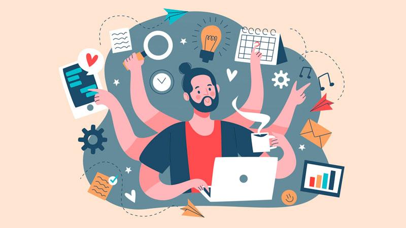 Pessoa trabalhando em um computador com diversos braços representando sua alta produtividade