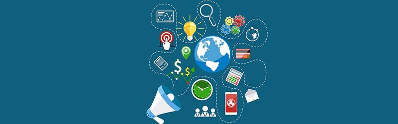 Megafone e diversos gráficos representando estratégias de marketing digital