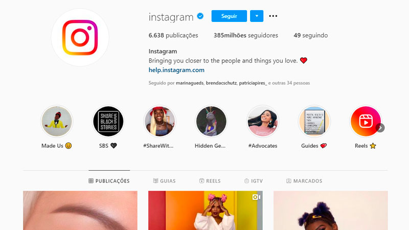 Selo de verificação no perfil oficial do Instagram