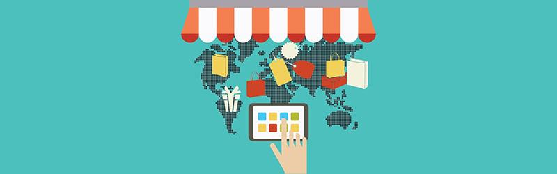 Ícones de loja virtual sobrepondo o mapa do mundo