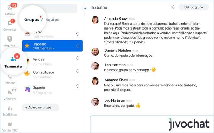 JivoTeams - Comunicação para equipes do JivoChat