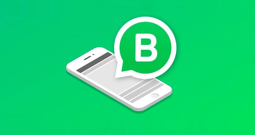 Celular com o ícone do WhatsApp Business em sua tela