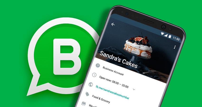 Celular com uma conta comercial do WhatsApp Business