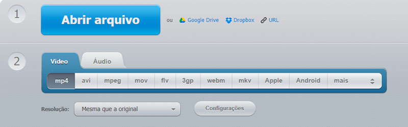 Captura de tela da interface do Convert Video Online