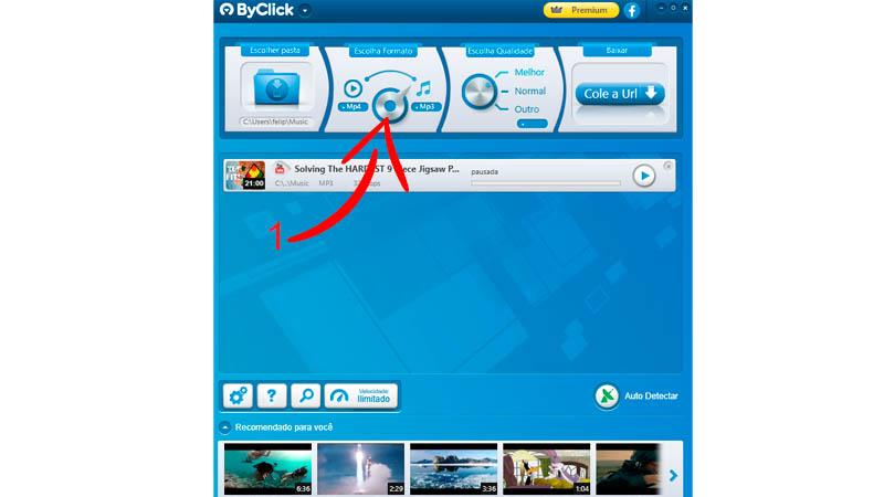 Interface do ByClick com seta indicando clique no botão de conversão