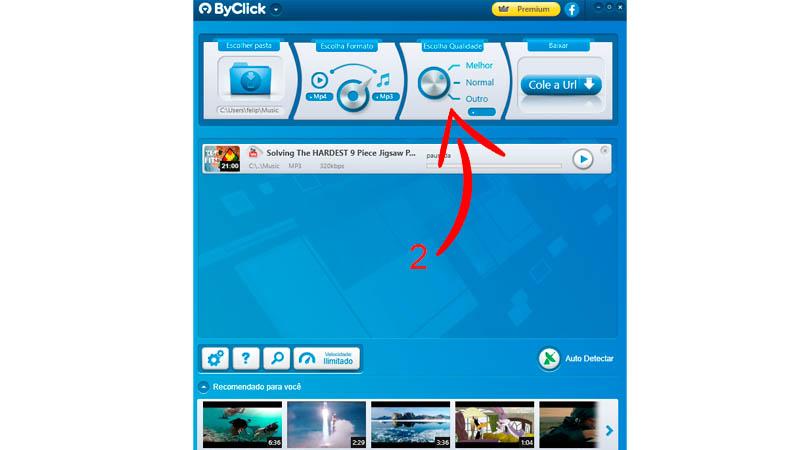 """Interface do ByClick Download com seta apontando para o botão """"Escolha a qualidade"""""""