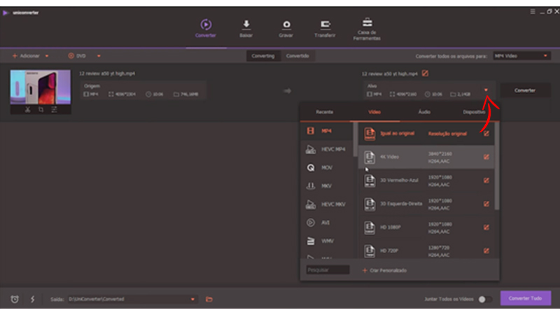 Captura de tela com o segundo passo ensinando como usar o conversor da Wondershare