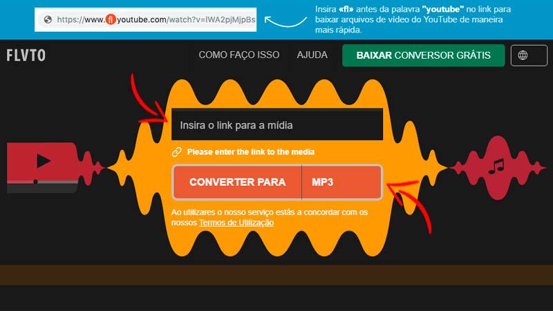 Captura de tela da interface do FLVTO conversor MP3
