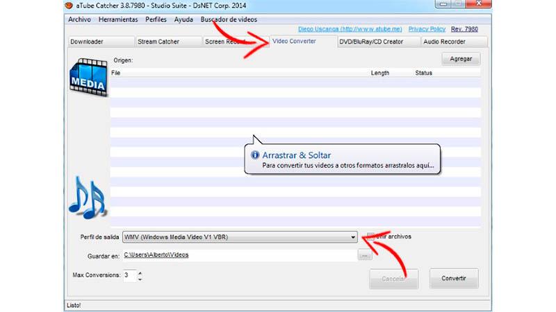 Captura de tela com setas de guia indicando como usar o conversor aTube Catcher