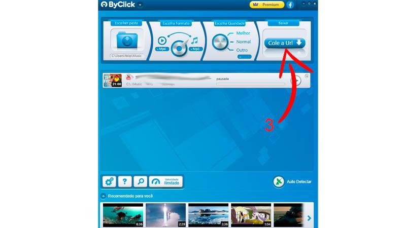 """Interface do conversor mp3 ByClick Download com seta apontando para o botão """"Cole a URL"""""""