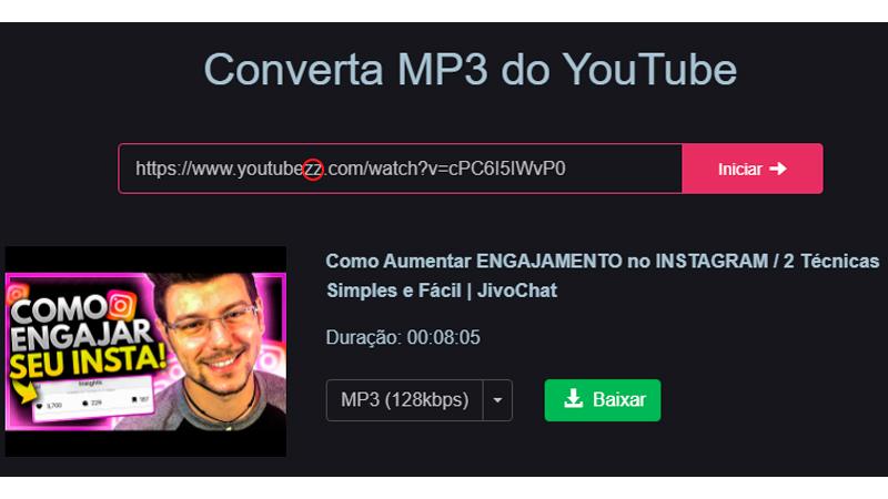 Captura de tela do conversor MP3 Y2meta