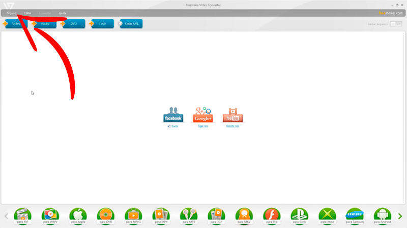 Captura de tela da interface do Freemake