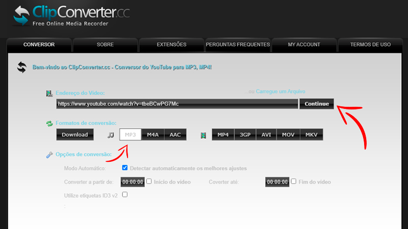 Captura de tela do ClipConverter