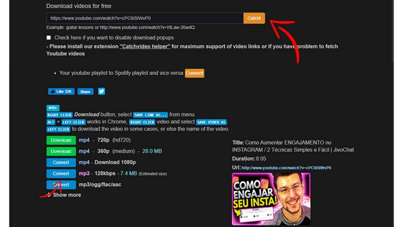 Captura de tela da interface do CatchVideo