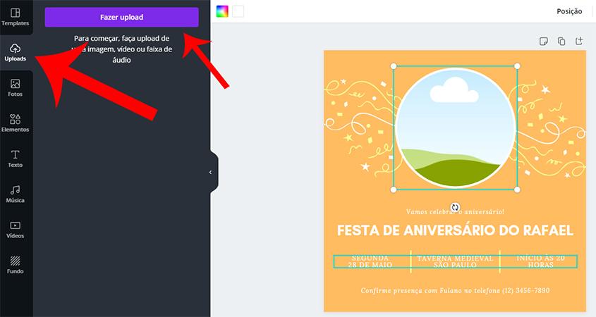 Editar elementos do convite virtual no Canva