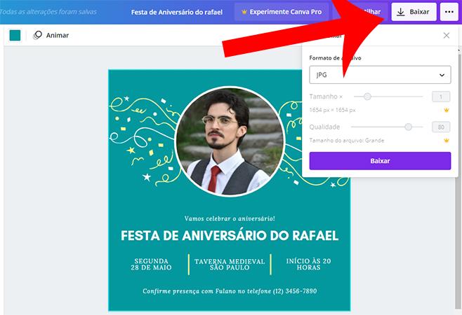 Como baixar convite virtual pronto