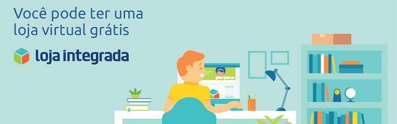 """Logo da Loja Integrada, onde é possível ler """"Você pode ter uma loja virtual grátis"""""""