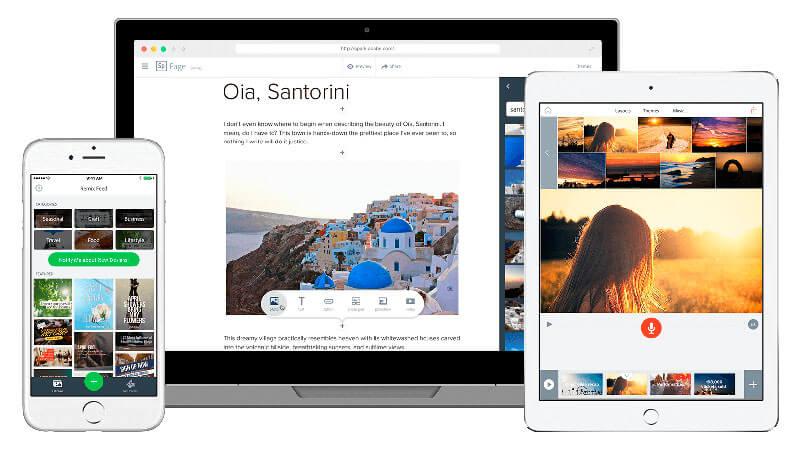 Tela de computador, smartphone e tablet com o Adobe Spark