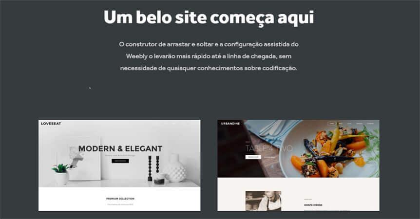 """Banner do Weebly com texto """"um beto site começa aqui"""""""