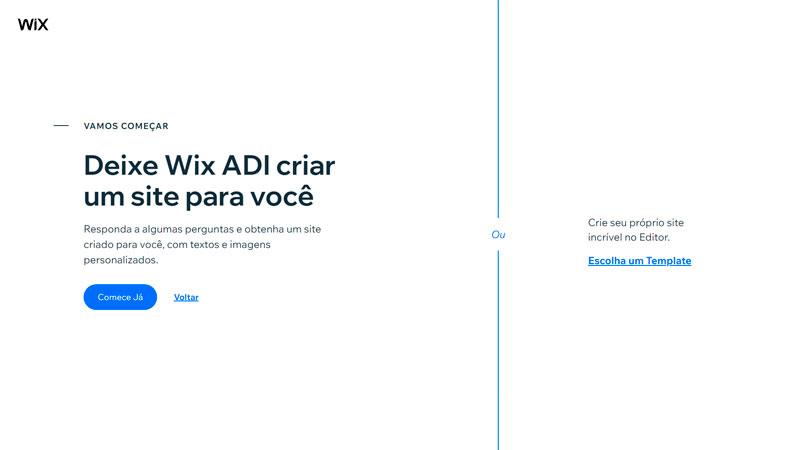 Passo 3 para criar site Wix