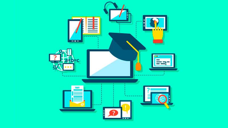 Tela de um computador se conectando com várias matérias de um curso online