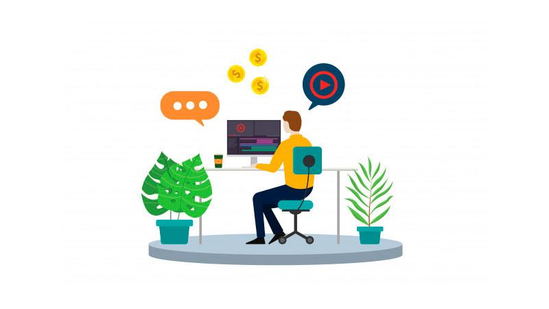 empreendedor usando um programa de edição de vídeo em seu computador