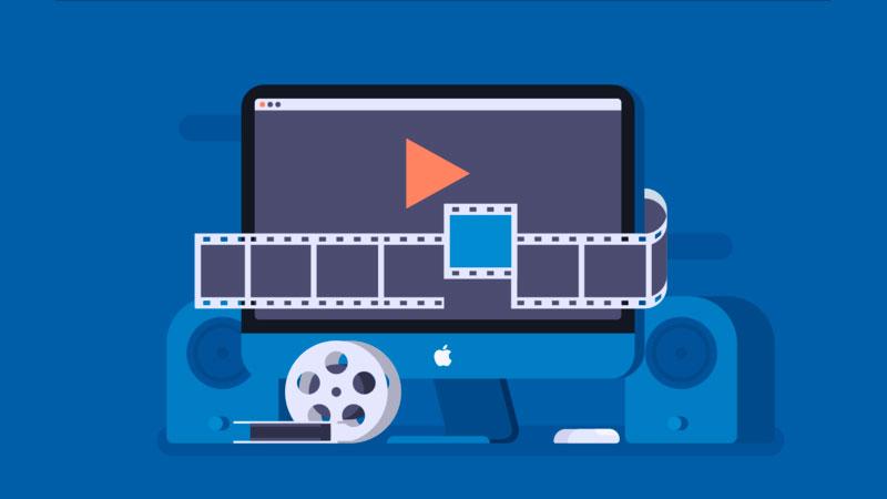 computador mac com elementos de programas de edição de vídeo