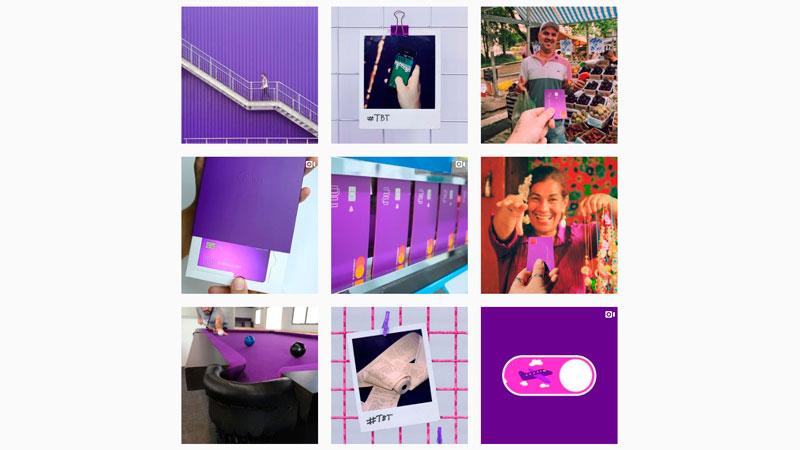 Feed do Instagram da empresa Nubank com a cor roxa em todas as imagens
