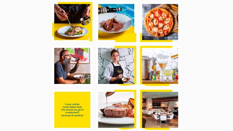 Feed do Instagram do restaurante serafina com molduras em todas as fotos