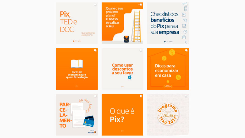 Feed do Instagram da empresa Itau usando o contraste entre branco e laranja para criar um efeito de xadrez