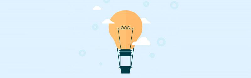 Lâmpada iluminando ideias para frases de status