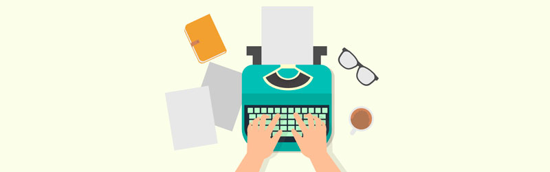 Mãos escrevendo em uma máquina de escrever