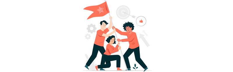 Equipe erguendo uma bandeira junto
