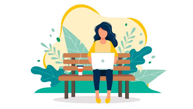 Empreendedora trabalhando em um ambiente externo