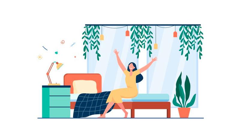 Pessoa acordando feliz em seu quarto