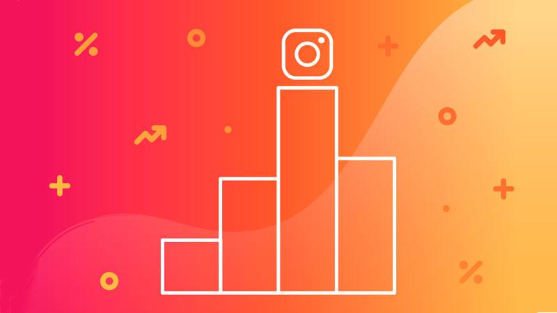 Gráfico de barras com o ícone de Instagram no topo