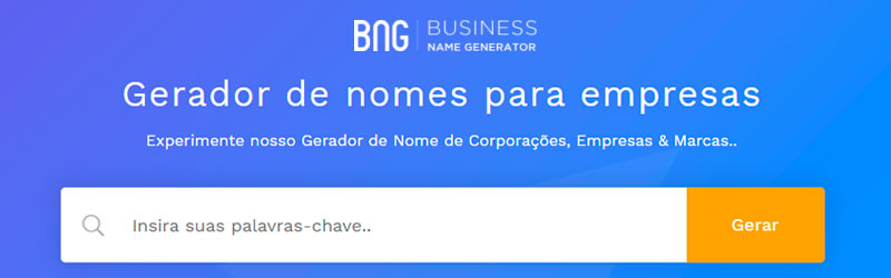 captura do site da business name generator contendo logo uma barra de pesquisa e o texto gerador de nomes para empresas