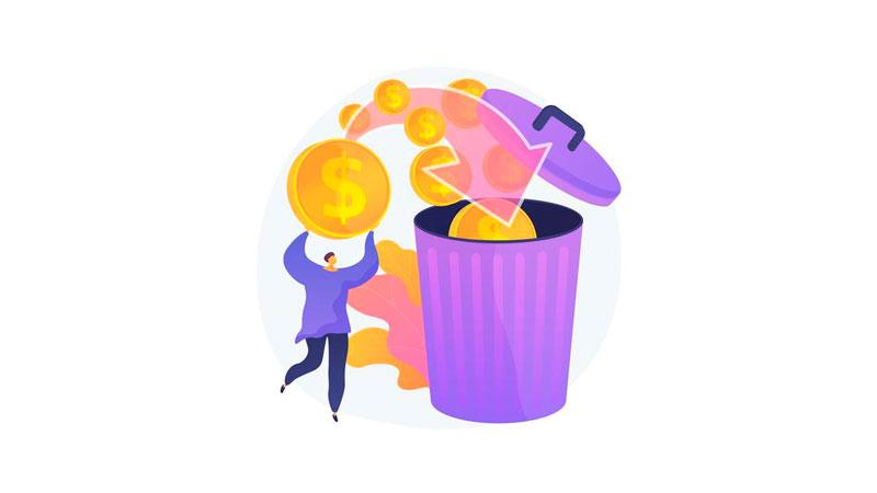 Pessoa jogando moedas numa cesta de lixo