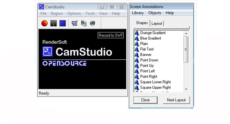 Interface do CamStudio
