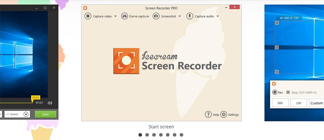 Interface do gravador de tela InceCream Apps