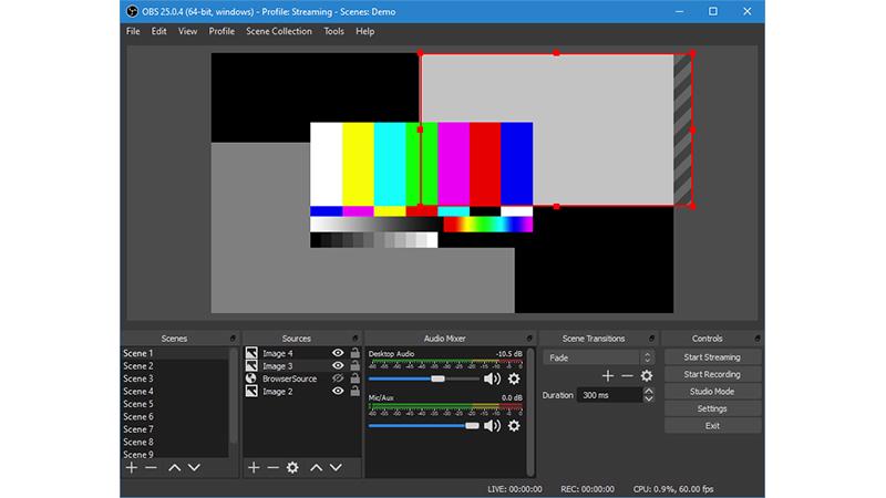 Interface do gravador de tela para PC OBS Studio