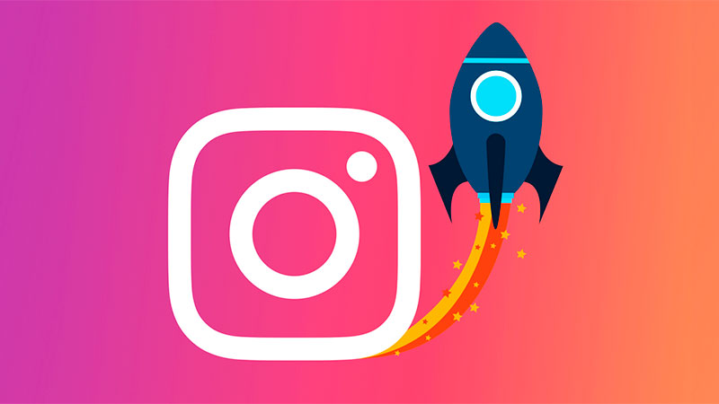 Ícone do aplicativo do Instagram acompanhado de um foguete