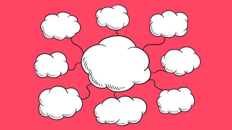 Mapa mental vazio composto por nuvens